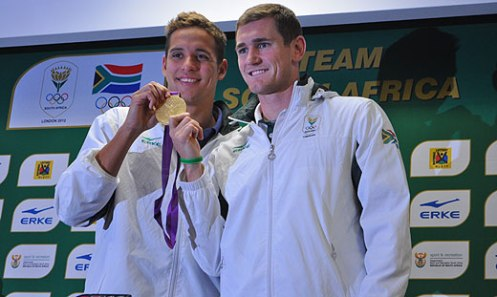 Olympic gold medallists Chad le Clos and Cameron van der Burgh arrive at OR Tambo International Airport on 9 August 2012.  Picture: Christa van der Walt/EWN