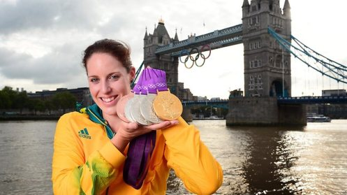 Alicia Coutts with her Olympic medal haul from London