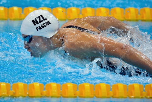 Sophie Pascoe of New Zealand competes in the Women's 100m Butterfly S10 Final during the London 2012 Paralympic Games