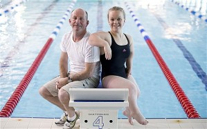 Coach Billy Pye with swimmer Ellie Simonds