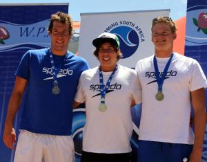 2013 SA open water champs 10km podium : Troyden Prinsloo (silver) Chad Ho (gold) Danie Marais (bronze)