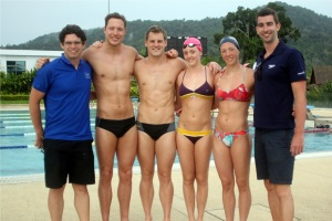 Craig Johns with Grant Turner, Liam Tancock, Fran Halsall, Amy Smith, and coach James Gibson.