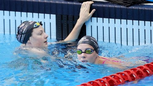 Cate and Bronte Campbell in the pool during warm up day at the Australian Swimming Championships. Picture: Simon Cross Source: The Courier-Mail