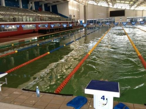 "MURKY WATERS: Top SA swimmer Roland Schoeman tweeted last week, ""First photo of the SA trials swimming pool. Trials start tomorrow."""