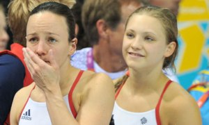 Team GB's Alicia Blagg, right, and Rebecca Gallantree. Photograph: Martin Rickett/PA
