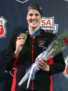 Missy Franklin celebrates her fourth title at the U.S. nationals.(Photo: Streeter Lecka, Getty Images)