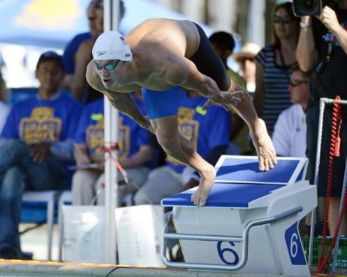 US Olympic gold medalist Nathan Adrian of the California Aquatics won the men's 100M Freestyle in meet record of 48.08 during the friday championship finals of the 2013 Arena Interational Santa Clara Grand Prix at the George F. Haines International Swim Center. / Bob Stanton-USA TODAY Sports