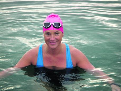 Teacher Helen Franklin preparing for her swim