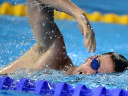 Australia's swimmer James Magnussen takes part in a training session on the eve of the start of the swimming competition at the FINA World Championships at the Palau Sant Jordi in Barcelona. Picture: AFP