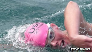 Jane McCormick was part of the team who completed the swim in 18 hours 13 minutes : image Steve Franks