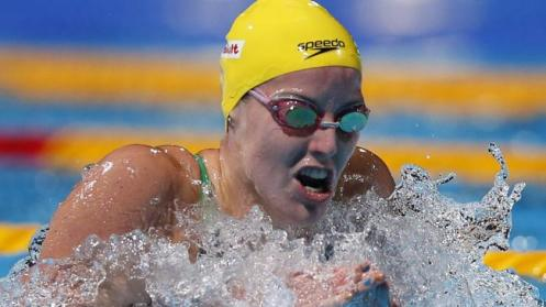 Australia's Alicia Coutts swims to take silver in the Women's 200m individual medley final at the FINA Swimming World Championships in Barcelona. Picture: Michael Sohn Source: AP