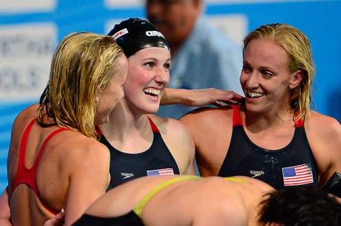 Missy Franklin (center), swam the leadoff leg for the Americans in the 400-meter medley relay. LLUIS GENE/Getty Images