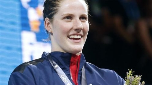 BCN 2013 Gold medallist Missy Franklin of the U.S. sings her national anthem at the the women's 200m backstroke victory ceremony during the World Swimming Championships at the Sant Jordi arena in Barcelona  (Eurosport)