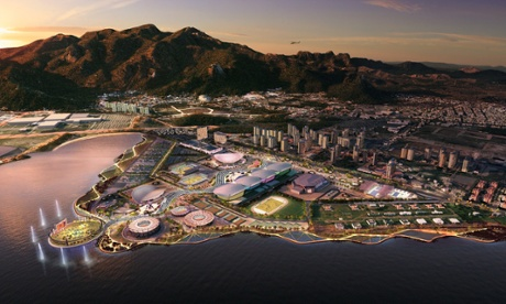 The Olympic park occupies a triangular site on the edge of the Jacarepaguá lagoon Photograph: Aecom